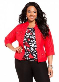 Amazon.com: Ashley Stewart Women's Plus Size Whipstitch Linen Jacket: Clothing