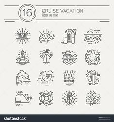 Cruise vacation icons made in trendy line style vector. Summer adventure emblem. Marine symbols. Nautical design elements isolated on background. Labels for maritime company or cruise ship.