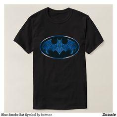 Blue Smoke Bat Symbol T Shirt