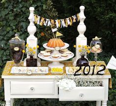 """Graduation party dessert table as opposed to just """"cake"""".  Add lots of cupcakes!"""