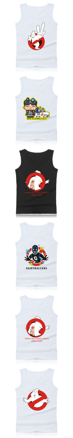 Ghostbusters Movie Summer Tank Top Men and Ghost Busters Bodybuilding Sleevesless Shirt in Cartoon Vest XXS-4XL