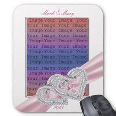 Custom Hearts Patel Pink Ribbon Mouse Pad #weddings