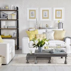 Pale grey and lemon yellow living room