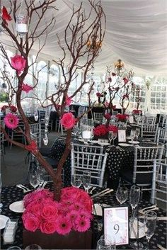 Beautiful crystal trees decorated with Roses and Gerberas.: