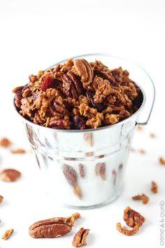 High Fiber Cinnamon Pecan Granola.  [Made 10-30-2014.  Bake LESS THAN  the minimum listed (got too toasty).  -hn]