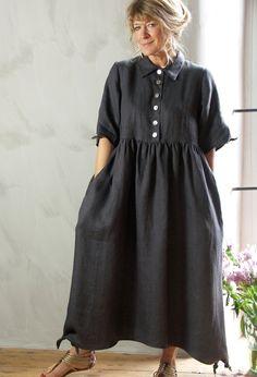 Shirt Dress in linen £265. Nice little hem & sleeve detail, tiny knotted corners.