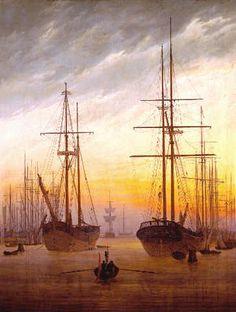 Caspar David Friedrich - Ansicht eines Hafens