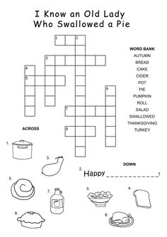 Easy Thanksgiving Crossword Puzzles for Kids Thanksgiving Crossword Puzzle, Printable Crossword Puzzles, Thanksgiving Words, Thanksgiving Coloring Pages, Fill In Puzzles, Word Puzzles For Kids, Puzzles Für Kinder, Printable Games For Kids, Scrappy Quilts