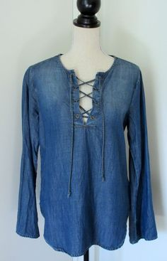 Cloth and Stone Blue Chambray Lace Up Tunic Shirt S Bell Sleeve Anthropologie #ClothAndStone #Tunic #Casual