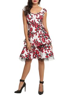 White And Red Rose Swing Dress  5372c5646