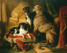 Sir Edwin Landseer's group portrait of royal pets depicts the greyhound Nero, Hector the Scottish deerhound, Dash the spaniel and Lory the parrot. Oil on canvas, commissioned by Queen Victoria.
