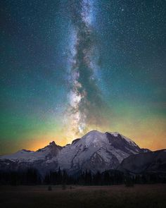 """Rise""  Mt Rainier alighted with the Milky Way during a beautiful clear night in Washington.  Snapchat:Shainblum by shainblumphotography"