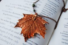Here is a gorgeous fall leaf necklace that features a REAL maple leaf that has been electroplated and preserved forever in copper. ♥ The rich
