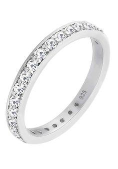"""Klassisches Design glamourös inszeniert! Dieser schlichte Bandring aus 925er Sterling Silber und Kristallen von Swarovski zaubert ein Funkeln auf jede Handbewegung und ist die perfekte Mischung aus moderner Form und zeitloser Eleganz. Lass dich von deinem neuen Silberring verzaubern.  Weitere Hilfe zur Ringgröße:  Angegebene Größe in mm entspricht """"Ring Innen-Umfang"""", Umrechnung in """"Ring Durchm..."""