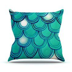 """Theresa Giolzetti """"Mermaid Tail"""" Teal Blue Throw Pillow"""