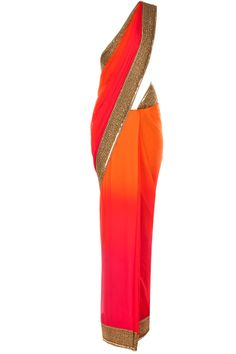 Atsu presents Pink and orange ombre sari available only at Pernia's Pop-Up Shop. Bollywood Outfits, Pakistani Outfits, Indian Attire, Indian Wear, Desi Clothes, Indian Clothes, Saree Floral, Brazil Fashion, Anarkali
