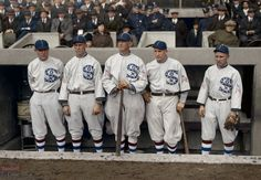 1917 World Series Champions ~ Chicago White Sox. Restored and colored by ManCave Pictures. White Sox Baseball, Pro Baseball, Baseball Photos, Baseball Players, Black Sox Scandal, World Series History, Sports Uniforms, Black Socks