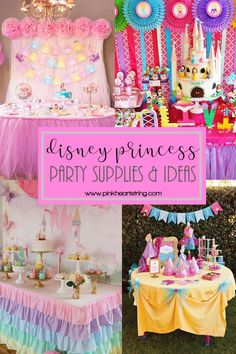 Are you planning a Disney Princess party? We made a list of the party supplies you need! Also, check out some ideas that you can use for your kid's party! Princess Birthday Party Decorations, Disney Princess Birthday Party, Birthday Party Snacks, Kids Party Decorations, Ideas Party, 4th Birthday, Birthday Crowns, Cinderella Party, Birthday Ideas