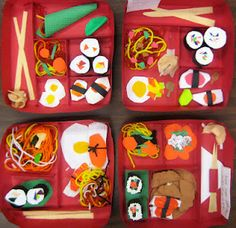 Experiments in Art Education: bento box paper sculpture- 4th grade, 3 class periods, first made box with 3 sections for food and 1 section for chopsticks