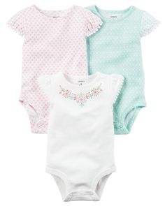 "3-Pack Flutter-Sleeve Original Bodysuits from <a href=""http://Carters.com"" rel=""nofollow"" target=""_blank"">Carters.com</a>. Shop clothing & accessories from a trusted name in kids, toddlers, and baby clothes."