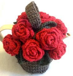 Red Roses Teapot Cozy  Flowered Crocheted by OCCASIONsonjabegonia