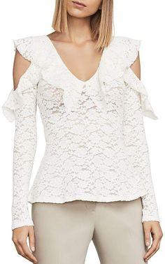 3594937497c69f BCBGMAXAZRIA Astril Cold-Shoulder Lace Top Women - Bloomingdale s