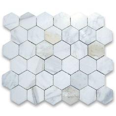 Calacatta Gold Italian Calcutta Marble Hexagon Mosaic Tile 2 inch Polished - Amazon.com