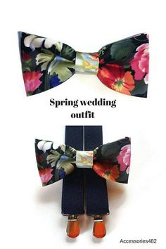 black floral bow tie navy elastic Y-back suspenders set for