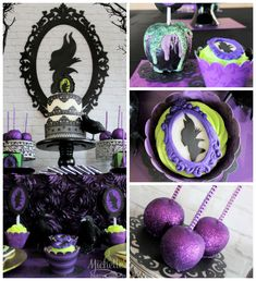 Inspired Dessert Table {Ideas, Decor, Styling, Cake} Maleficent Inspired Dessert Table via Kara's Party Ideas Disney Halloween, Halloween Party, Party Box, Party Time, Tea Party, Maleficent Party, Villains Party, Disney Villains, Disney Desserts