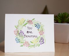 You are beautiful, thank you card, handmade card by AmoryPapel on Etsy