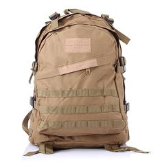 Team Pistol Tactical Military Backpack 3D Military Tactical Backpack Camping Hiking Trekking Bag Molle Rucksacks Waterproof Assault Pack KHAKI >>> Click image to review more details.