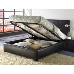 Update your room with this leather queen size storage bed and watch your storage worries fade away! Sturdy, smart and contemporary, imagine all the space you'll save with this functional design. Use it for extra closet space, suitcase storage and more! King Size Storage Bed, Modus Furniture, Platform Bed Mattress, Upholstered Storage, Storage Bed, Bed Storage, Bed, Bed Plans, Upholstered Bedroom