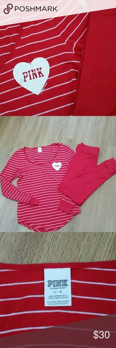 Victoria's Secret Valentine's pajamas sz large EUC red and white striped top with solid red bottoms both in excellent condition. Size large Victoria's Secret Intimates & Sleepwear Pajamas