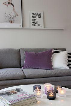 Iittala Kastehelmi Purple Pillows, Apartment Makeover, Soft Purple, Violet, Scandinavian Design, Indoor Outdoor, Couch, Lights, Living Room