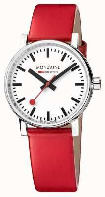 Mondaine Evo2 35mm Sapphire Crystal Red Leather Strap White Dial MSE.35110.LC