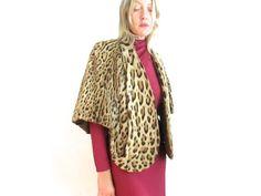 Vintage 50s LEOPARD Print Fur Stole/60s Fur by RubyDustVintage
