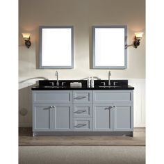 ARIEL Hamlet 73-inch Grey Double Sink Vanity with Absolute Black Granite Top