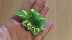 Flower Kanzashi Master Class hand made DIY Tutorial Канзаши МК Лист розы