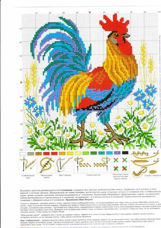 55pc Rooster Cross Stitch, Cross Stitch Numbers, Xmas Cross Stitch, Cross Stitch Kitchen, Beaded Cross Stitch, Cross Stitch Animals, Crochet Cross, Cross Stitch Charts, Modern Cross Stitch Patterns