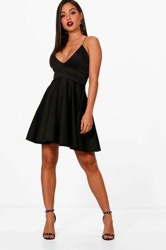 df93468c4d66 Boohoo Eliza Strappy Plunge Neck Skater Dress Size 14 BNWT Black Uk  Freepost #fashion #