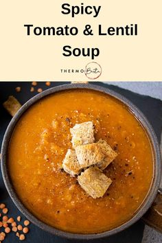 Spicy Tomato and Red Lentil Soup Vegetarian Laksa, Vegetarian Main Meals, Soup Recipes, Cooking Recipes, Cooking Ideas, Vegan Recipes, Sorority Canvas, Sorority Paddles, Sorority Crafts
