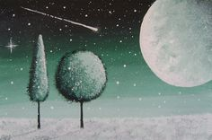 Moonlight Snowfall in Emerald Green Original by VioletHouseCrafts, $20.00