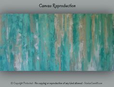 """Large teal canvas abstract art 16x32"""" - great with teal or turquoise home. Original art by Denise Cunniff - browse ArtFromDenise.com or go to this listing https://www.etsy.com/listing/182705652/large-teal-canvas-abstract-art-teal-home"""