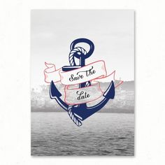 Save the date mariage Marin nautique mer vintage retro original ancre voyage invitation faire-part Paper and Love