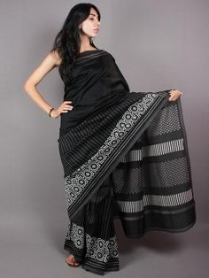 Black White Grey Hand Block Printed in Natural Vegetable Colors Chanderi Saree With Geecha Border - S03170382