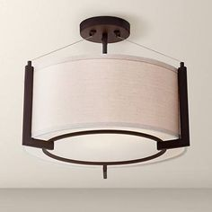 """Stinson 16 1/4"""" Wide Linen and Bronze Ceiling Light"""
