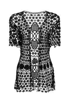 Ladies beachwear small flower crochet cream cardigan.