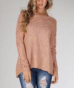 Dusty Pink Open-Knit Hi-Low Sweater