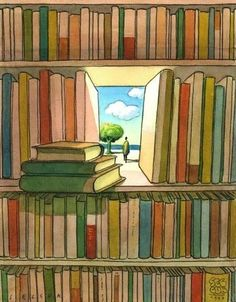 Books are portals to where?  Books will take you away, and so should they, or should we put them away, wander outside, and go to wonder play.