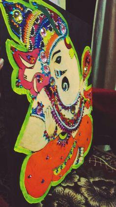 Handmade Craft-- beautiful painting and crafting Combination to make lord ganesh